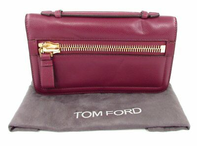 f6281ab56357 Tom Ford Jennifer Clutch Carnal Red Calf Leather with Strap NM Exclusive  Zipper