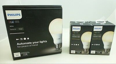 Philips Hue Starter Kit White & 2 Extra Bulbs LOT NEW 4 Bulbs Total 455287 A19