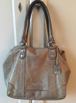 92f417ed14ed Frye Leather Melissa Shopper tote bag purse Slate Gray Washed leather  VGUC-AS IS