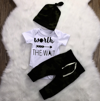 Baby Clothes Outfit  Boys Girls Cotton Newborn Short Sleeve Jumpsuit Camouflage