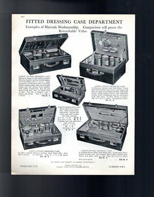 1929 Fitted Dressing Cases Harrods Vintage Advert Double Sided