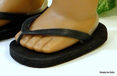 "BLACK Flip-Flops DOLL SANDALS SHOES fit 18"" AMERICAN GIRL Doll Clothes"