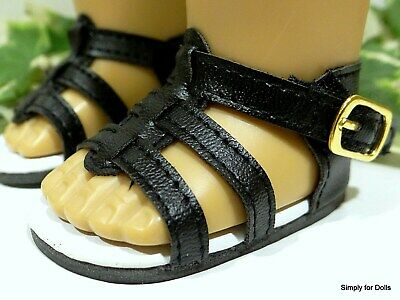 """BLACK Strappy DOLL SANDALS SHOES fits 18"""" AMERICAN GIRL DOLL"""