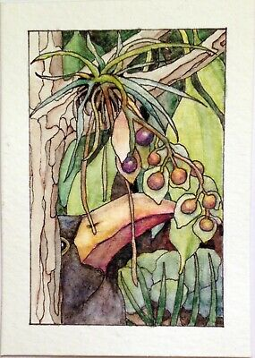 ACEO Original Watercolor Painting TOUCAN AND BERRIES by W.Scholes, signed