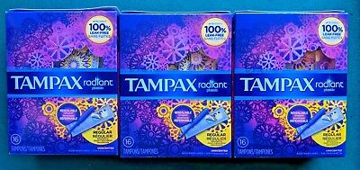 Lot 3 Tampax Radiant Plastic Resealable Wrapper Tampons Regular Unscented 16 Ct