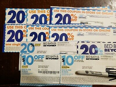 Lot of (10) Bed Bath and Beyond coupons