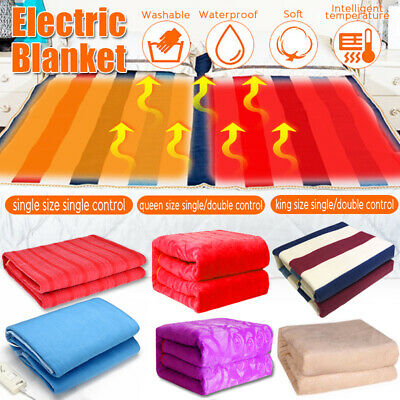 Electric Heated Throw Rug Blanket Fleece Washable Bedding Flannel Warm Mattress