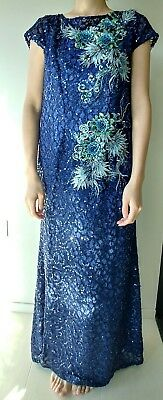 Elegant navy blue evening gown sequin A-line round neck cap sleeve long dress