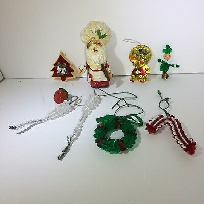 Lot of 8 Vintage Beaded Homemade Christmas Ornaments wreath, Icicle, Candy Cane
