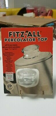 Vintage Fitz-All Percolator Top Lid Replacement Glass Top Nos Still In Package