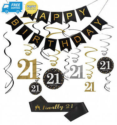 21st Birthday Decorations Kit