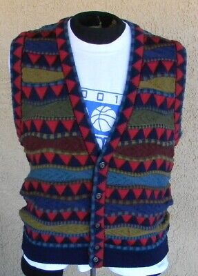 NICE HOMBRE COOGI STYLE MADE AUSTRALIA MENS COLORFUL KNIT SWEATER VEST Sz L