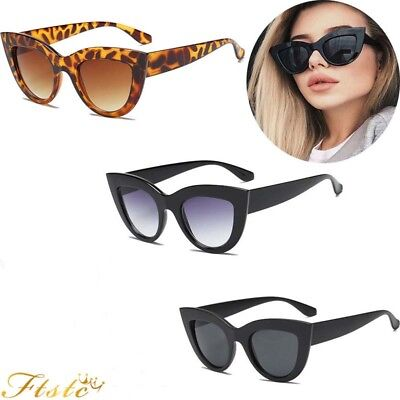 Luxury Ladies Womens Oversized Cat Eye Sunglasses Vintage Style Retro Shades AUS
