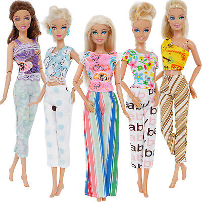5 Blouses T-shirt  Vest + 5 Pants Bell Trousers Outfits Clothes For 12 in. Doll
