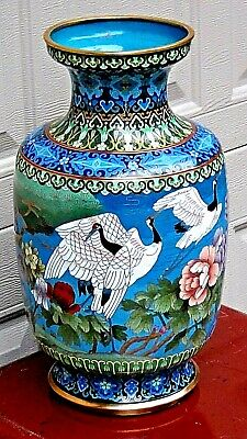 Antique Chines Large Cloisonne Polichrome Enameled Vase With Flying Cranes #2