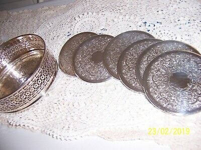 Vintage Strachan Australia Silverplated Wine Coaster With Box & Drink Coasters
