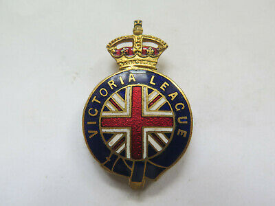 VICTORIA LEAGUE AUSTRALIA ENAMEL BADGE c1900s QUEEN VIC CROWN AT TOP UNION JACK