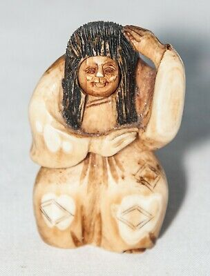 Antique or Vintage Lovely Japanese Netsuke. Signed. Revolving Face. Cross Hatchg
