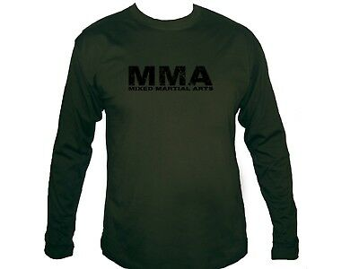 Mixed Martial Arts distressed print MMA sleeved army green new top t-shirt