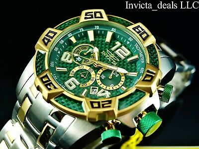 Invicta Mens 50mm Pro Diver SCUBA Chrono Green Fiber Glass Gold Tone 2Tone Watch