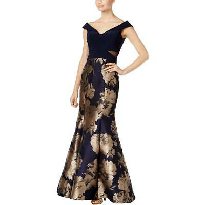 99438355bf5 Xscape Womens Navy Off-The-Shoulder Mermaid Party Evening Dress Gown 4 BHFO  3921