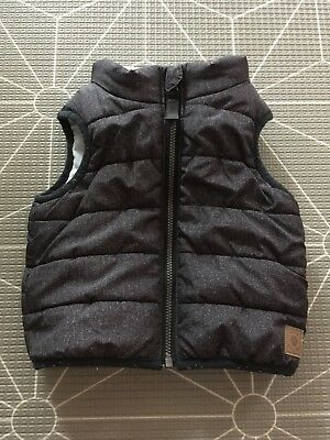 TARGET Black Padded Zip Up Vest For Baby Boy Size 00 or 3-6 Months