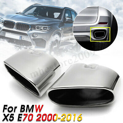 For BMW X5 E70 2X Exhaust Muffler Dual End Pipe Tip Stainless Steel Chrome