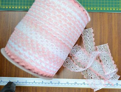 30 Metres of Iridescent Feather Edge Eyelet Lace MULTICOLOUR WHITE 37mm