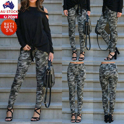 Women Casual Camouflage Harem Pants Skinny Stretch Elastic Camo Cargo Trousers
