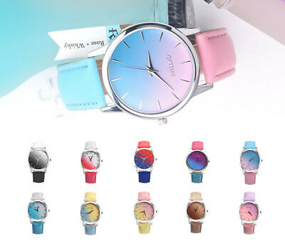 Fashion Ladies Women Two Colour Rainbow Band Girl Analog Quartz Wrist Watch samz