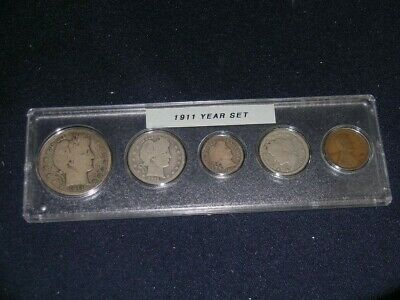 1911 Vintage Circulated Year Set - Nice 5-Coin Set
