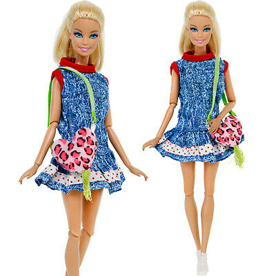 3IN1 Lovely Girl Blue Mini Sun Dress Clothes Denim Accessories For 12 IN. Doll B