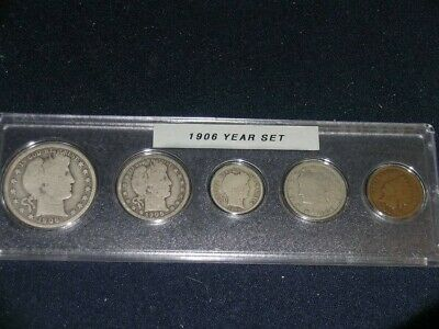 1906 Vintage Circulated Year Set - Nice 5-Coin Set