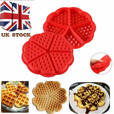 UK Silicone Round Waffles Pan Cake Baking Mould Mold Waffle Tray Kitchen Tools