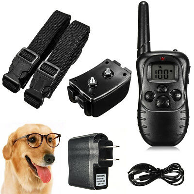 Rechargeable 2 Dog Shock Training Collar Electronic Remote Control Waterproof
