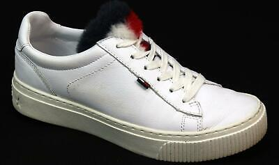 6f74467b9 Womens Tommy Hilfiger Funny Fur Star White Leather Look Sport Trainers Uk  Size 4
