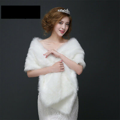 NEW Long White Faux Fur Evening Wrap/ Bridal Shawl/ Wedding Cape