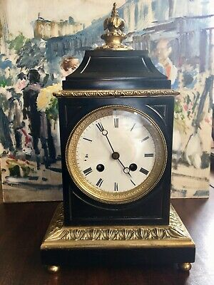 Antique French 8 Day Slate and Ormolu Mantle Clock very pleasing proportions