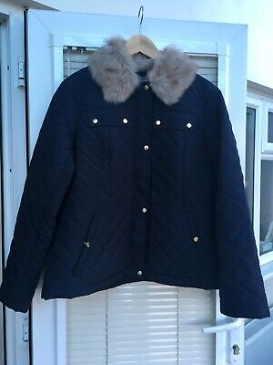 Oasis Quilted Fur Collar Navy Coat Size XL Brand New With Tags RRP £75