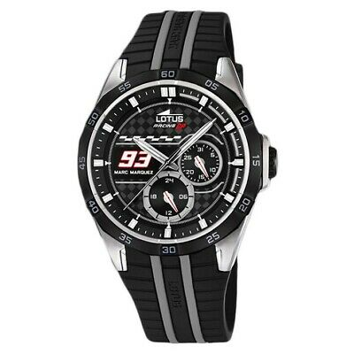 c20460e53a7d Lotus Marc Marquez 18259/4 watch with rubber strap black dial and gray
