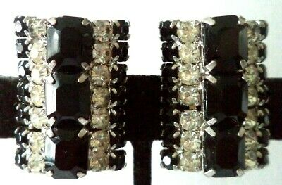 "Stunning Vintage Estate High End B&w Rhinestone 1 1/4"" Clip Earrings!!! G465U"