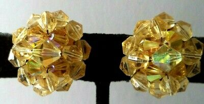 "Stunning Vintage Estate High End Ab Yellow Crystal 7/8"" Clip Earrings!!! G465W"