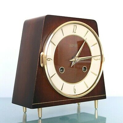 HERMLE Olympic Mantel Clock SWEET Shaped Germany Vintage High Gloss! 3 Bar Chime