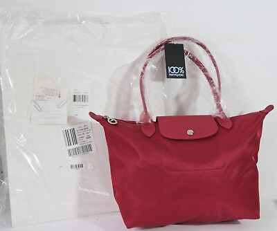5bc189d26a NWT Longchamp Le Pliage Neo Medium Tote Bag Ruby Red Bloomies Excl $175  Receipt