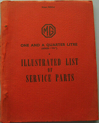 MG Series YB 1¼ original illustrated Service Parts List Issue 1 1952