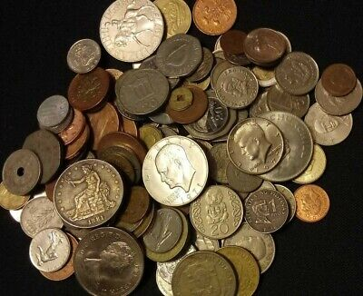 COOL 50 Different World Coins (Trade,Kennedy & Ike dollar Bag)