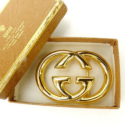 Gucci belt buckle Interlocking Gold Woman Authentic Used Y1697