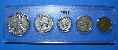 1941 US Coin Year Set 5 Coins 90% Silver
