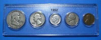 1952 US Coin Year Set 5 Coins 90% Silver