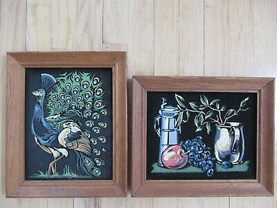 Lot of 2 Vintage Primitive Paintings on Black Felt in Wood Frame